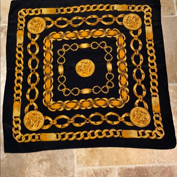 Chanel Paris France Black and Gold Silk Scarf